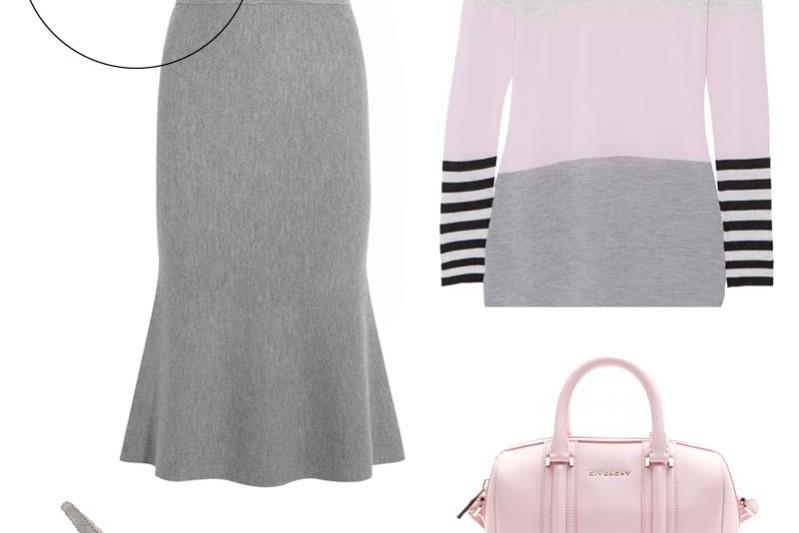 grå rosa outfit
