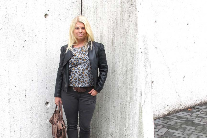black grey outfit with leopard top