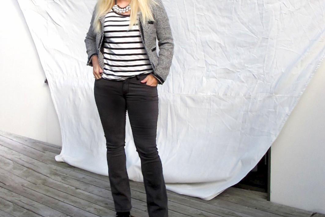 denim hunter flared jeans striped t-shirt