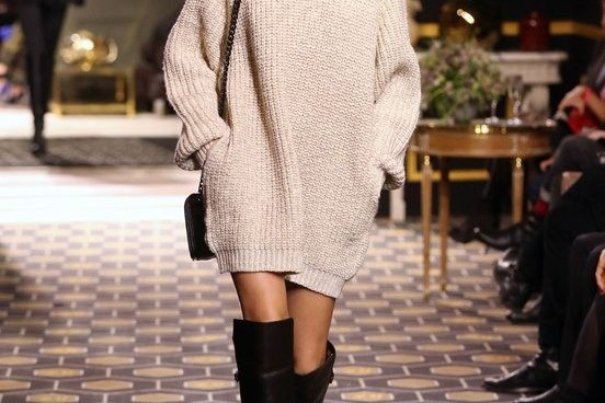 oversize knit and over the knee boots