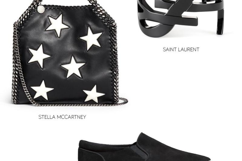 stella mccartney star bag, ysl cuff in black, hm suede sneakers