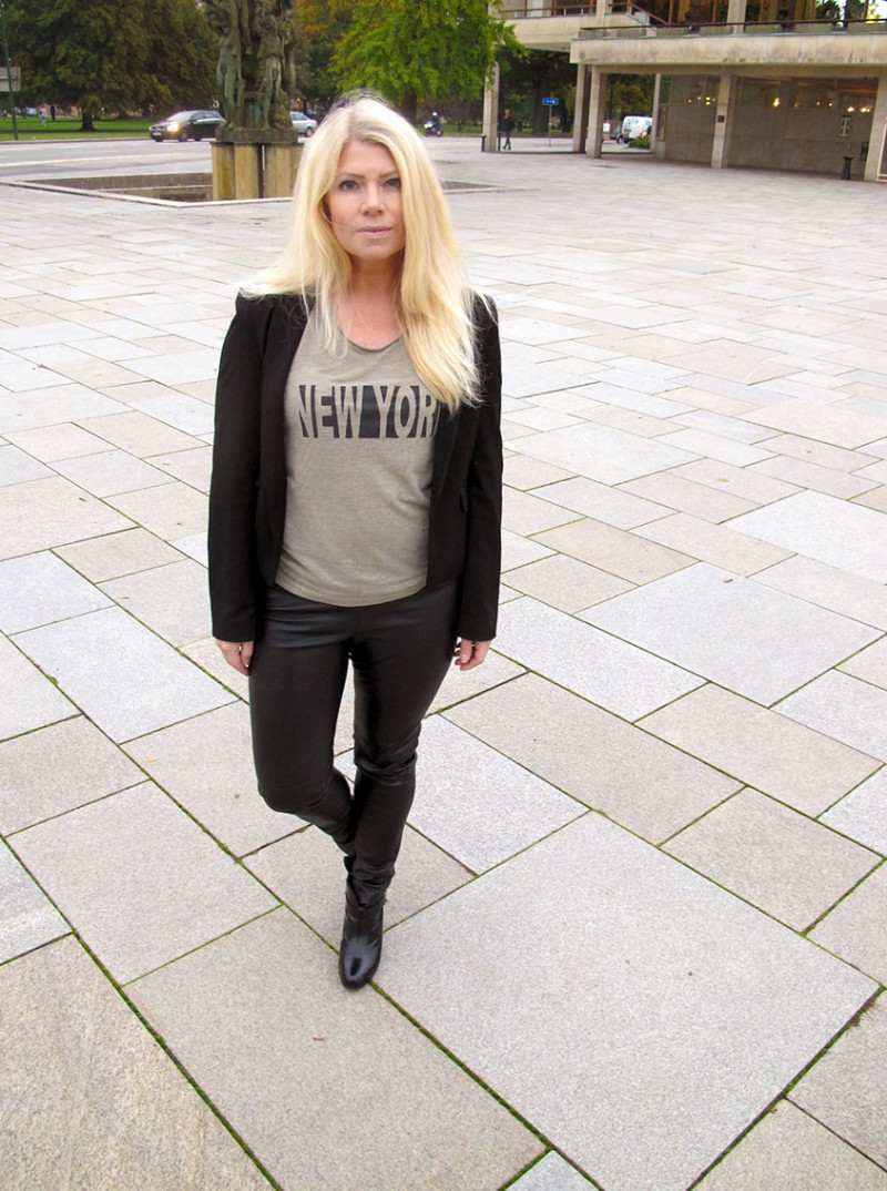 blaxer, faux leather pants, new york tee