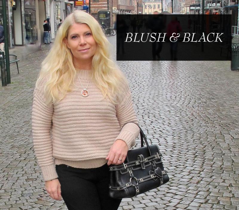 puderrosa och svart blush and black outfit