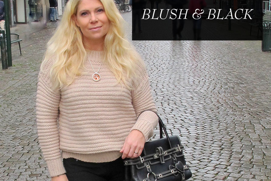 puderrosa och svart blush and black outfit